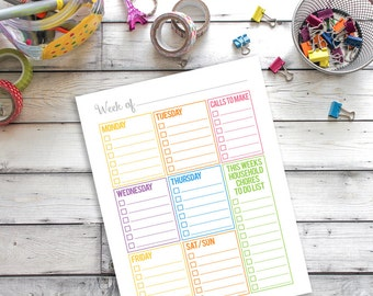 Weekly Calendar Printable, Household Binder Printable, Family Binder Printable, Home Organization, Daily Planner Inserts, Planner Printable