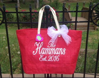 Mud Pie Solid Red Jute Tote, Reuseable Grocery Bag, Beach Bag, Carry-All, Monogrammed Tote and More!