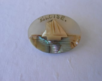Victorian Sailor Carved Mother of Pearl Name Brooch, Eloise