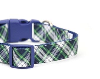 Preppy Tartan Dog Collar Navy Green Winter Prep School Scottish Plaid Dog Collar - Peyton
