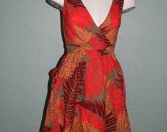 Vintage 1970s French Jousse Cotton Safari Print Wrap Dress