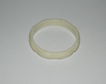 Vintage Ivory Carved Lucite Bracelet