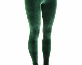 Forest Green Stretch Velvet High Waist Leggings  153924