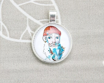 Old man and the sea round pendant sailor charm