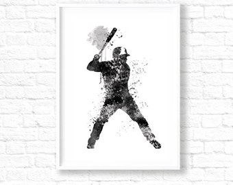 SALE! Baseball Decor, Baseball Player, Baseball painting, Baseball art, Baseball Watercolor print, Baseball sports decor, sports gifts WT26