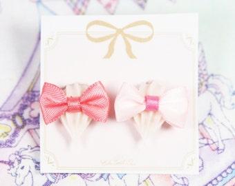 Whipped Cream Bow Earrings