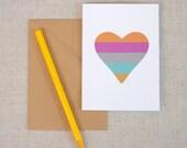 Modern Heart // Blank Note Card // Colorful Stripe Heart // Heart Card // A1 Note Card