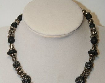 Black with White Speckle Polymer Necklace- Vintage made