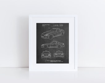 Sports Car Patent Poster, Convertible, Car Wall Art, 90's Art, Teen Room Decor, Car Enthusiast, PP0882