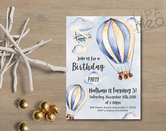 Hot Air Balloon Birthday Invitation Printable Girl Birthday