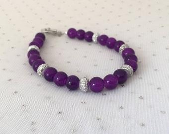 Purple Rhinestone Bracelet, Purple Bridal Jewelry, Purple Bridesmaid Jewelry Gift, Purple Glass Beaded Jewelry, Purple Wedding Jewelry