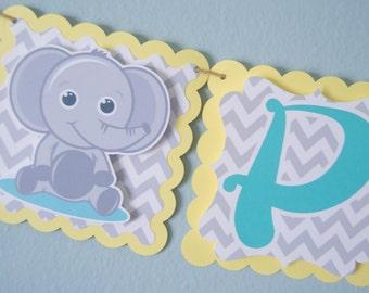 Elephant Theme Baby Shower Banner, Birthday Banner