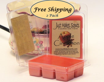 Apple Cinnamon Scented Wax Melts - 2 Pack with FREE SHIPPING - Scented Soy Wax Cubes - Mix & Match for Free Shipping