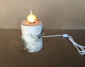 "6"" Birch Log Lamp with Pearlized Silicone Swirl Bulb"