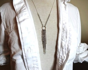 Handmade Long Mixed Metals 925 Sterling Silver Fringe Delicate Statement Pendant Necklace - Unique; Bohemian Layereing Necklace