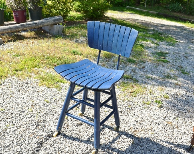 Vintage Wood Slat Stool Blue Painted Furniture Rolling Wheels Shabby Cottage Farmhouse PanchosPorch