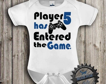 Baby Clothing-Geekery baby clothes-Gamer baby-Funny Baby Clothes-Player 5 has entered the game-baby bodysuit-Nerdy baby-Blue Fox Apparel-316