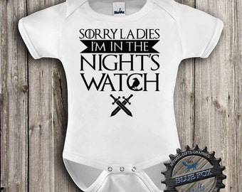 Nights Watch,Funny baby bodysuit,Geekery baby clothes,Game of Thrones inspired,Baby clothes,Nerd baby, baby bodysuit,Blue Fox Apparel_315