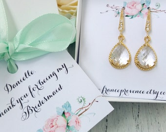 Bridesmaid jewelry set of 9 earrings gold teardrop earrings clear crystal earrings Bridesmaid Gift