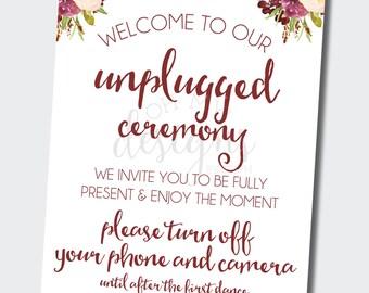 Unplugged Wedding Sign   Unplugged Ceremony   Floral Marsala Wedding