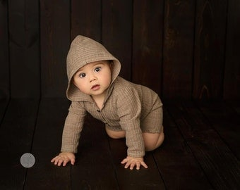 Sitter Romper Photography, Sitter Photo Prop, 6 Month Photo Outfit Boy, Hooded Romper, Sitter Size Overall, Hooded Jumpsuit, Photo Props