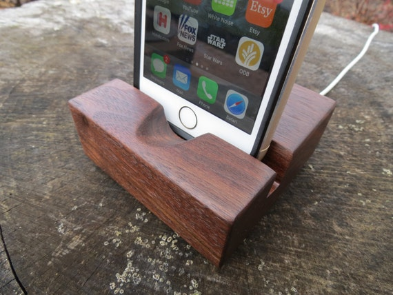 Locking Charger - iPhone Docking Station / Stand Walnut