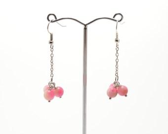 Jade earrings, pink jade,  stone earrings, pink jade earrings, natural stone earrings, semi-precious stone, stone jewelry, beaded earrings