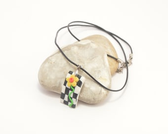 Polymer clay necklace - Chess board with flowers, flower necklace, floral necklace, handmade necklace, polymer clay jewelry, clay jewellery