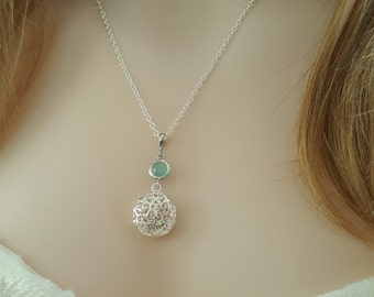 Mint Green Necklace, Silver Pendant, Mint Bridesmaid, Cage Necklace, Mint Necklace, Light Green Jewelry, Silver Necklace, Mint Opal, N5705