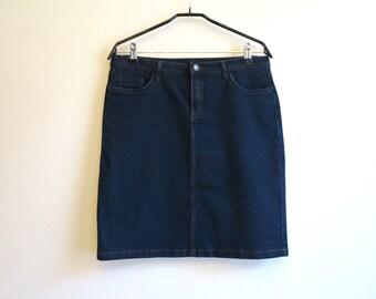 Navy Blue Skirt High Waisted Jean Skirt Denim Skirt Denim Pencil Skirt Medium Size Stretchy Jeans Skirt