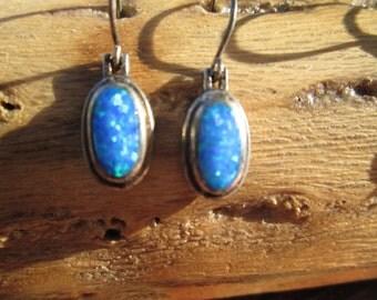 Vintage Opal and Sterling Earrings