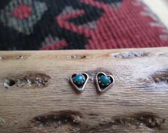 Turquoise and Sterling Heart Post Earrings