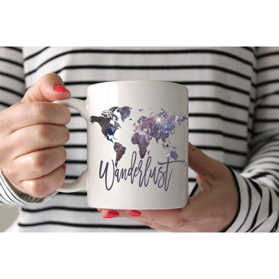 Wanderlust mug travel coffee cup world map not all those like this item sciox Image collections