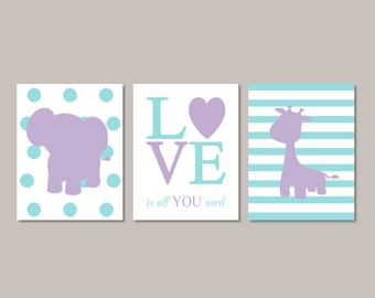 Girl ELEPHANT Nursery Wall Art Lilac Nursery Decor Baby Girl Pictures GIRAFFE Love Is All You Need Set of 3 Prints Or Canvas Art