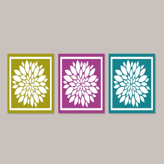 Items Similar To Teal Purple Abstract Flowers Wall Decor: Items Similar To Bathroom Wall Decor Teal Violet Wall Art