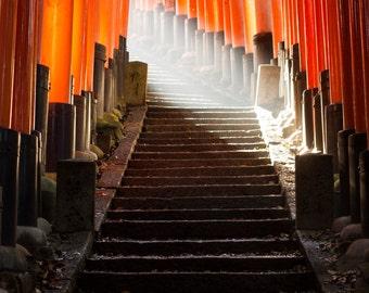 Beyond the Gate - Kyoto Japan - Travel Photography - Landscape - Cityscape - Sun - Fine Art - Large Format