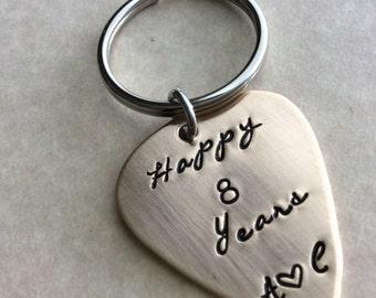 Bronze guitar pick, 8 year Anniversary gift, boyfriend, girlfriend gifts