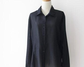 90s Sheer stripe shirt. 90s sheer black top. Black sparkle shirt. Sheer black shirt. Size M