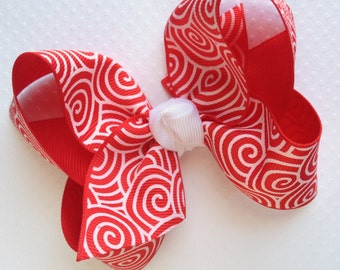 4 inch Red and White Swirl Hair Bow