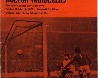 Vintage Football (soccer) Programme - Fulham v Bolton Wanderers, 1974/75 season