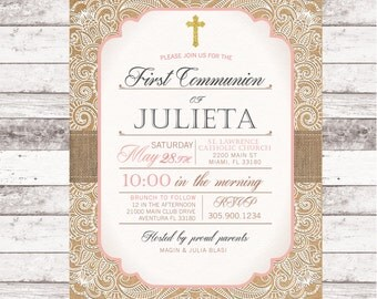 First Communion Invitation - Romantic Lace - Vintage Kraft Paper Burlap Blush Pink Ivory - Printed Printable File - Free Shipping - IFC0001