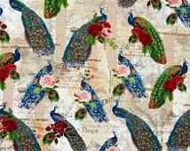 Peacock Fabric - Baroque Peacock from Four Seasons 3016 5C Cream - 1/2 yard
