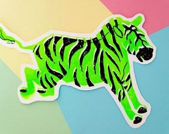 Zebra Fluorescent Silk Screen Cut Out