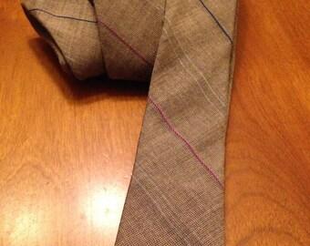Nice Polished Cotton Tweedy Light Brown Skinny Tie