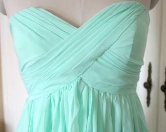 Mint Short/Floor Length Sweetheart Bridesmaid Dress Knee-length/Floor-length Mint Chiffon Strapless Bridesmaid Dress