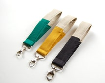 Fabric key fob, wristlet key chain, color block, canvas cotton, mustard color, loop keychain, key ring, swivel snap