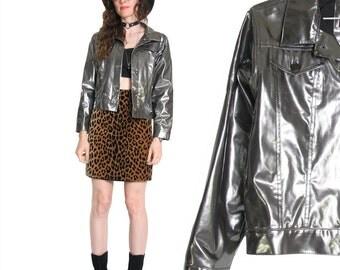 90s Gunpowder PVC Jacket - Classic Cut Jacket - 90s Jacket - Silver Metallic - Club Kid - Cyber Goth - Cropped - Plastic Coat - Vinyl Jacket