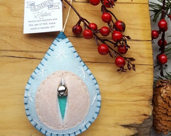 The Vaginament®! A sea and sky hued, happy, well-adjusted big snowy vulva ornament, handmade in Canada (mature!) {ships in 2-6 days}