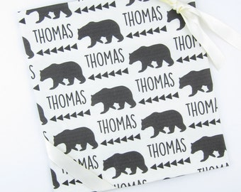 Baby Name Blankets // Baby Blankets with Name Custom Name Baby Blanket Personalized Baby Boy Blanket Personalized Baby Gifts- Bear w/Arrows