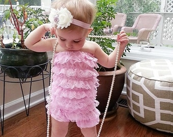 Ivory and pink baby headband, 1st birthday baby headband, pink and cream headband